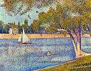 The Seine at La Grande Jatte' 1888. Oil on canvas. Georges Seurat (1859-1891) French Post-Impressionist painter. France Water River Seine Rower Boat Sail Summer