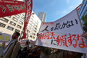 Protest by left wing labour union activists against the Lay-judge system in Japanese law. Nagatacho, Tokyo, Japan. Friday November 9th 2012