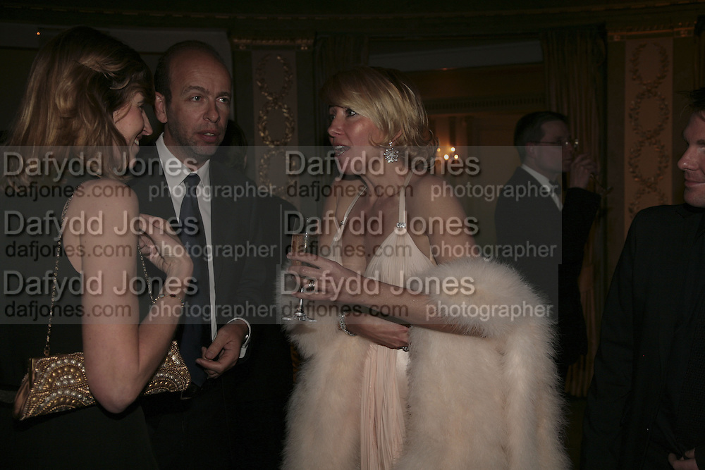 Eric Fellner and Arabella Pollen/Macmillan with Emma Thompson, Cocktail party before the  27th Annual London Film Critics' Circle Awards. In aid of the NSPCC. Dorchester. 8 February 2007.  -DO NOT ARCHIVE-© Copyright Photograph by Dafydd Jones. 248 Clapham Rd. London SW9 0PZ. Tel 0207 820 0771. www.dafjones.com.