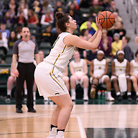 1st year point guard Lauryn Prokop (3) of the Regina Cougars in action during the Women's Basketball Playoff Game on February  15 at Centre for Kinesiology, Health and Sport. Credit: Arthur Ward/Arthur Images
