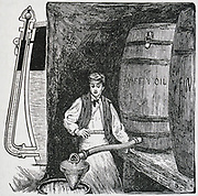 Flexible self-gauging fawcett for use with barrels. Engraving 1844,