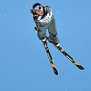 Emily Cook (Belmont, MA) performs aerial acrobatics during the 2009 Sprint US Freestyle Championships held at the Utah Olympic Park in Park City on March 8, 2009. Cook scored 153.42 points on the day which earned her the silver medal.