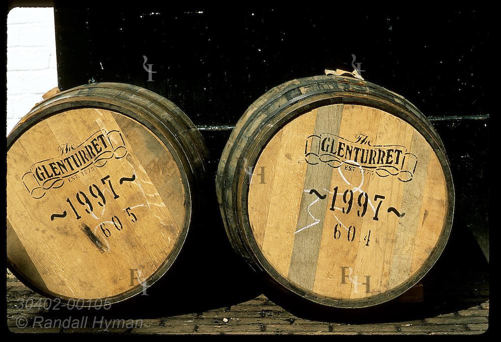 Detail view of two whisky casks at Glenturret, Scotland's oldest distillery near town of Crieff. Scotland
