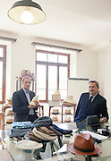Biella, Italy, BARBISIO, handmade hat manufacture. Maurizio Romiti, Presidente Cappellificio Cervo.- Giorgio Borrione, AD Cappellificio Cervo.