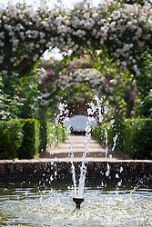 Fountain in the walled rose garden at Mottisfont. Rosa 'Adélaïde d'Orléans' on the arches beyond