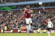 Aston Villa midfielder Albert Adomah (37) heads the ball  at goal during the The FA Cup 3rd round match between Aston Villa and Swansea City at Villa Park, Birmingham, England on 5 January 2019.
