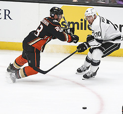 November 7, 2017 - Los Angeles, California, U.S - Anaheim Ducks defenseman Francois Beauchemin (23) and Los Angeles Kings forward Tanner Pearson (70) fight for the puck during a 2017-2018 NHL hockey game in Anaheim, California on Nov. 7, 2017. Los Angeles Kings won 4-3 in overtime. (Credit Image: © Ringo Chiu via ZUMA Wire)