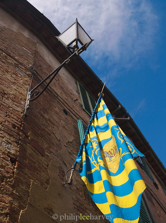 The flag with a turtle, representing the Contrada della Tartuca, one of the seventeen historical areas of Siena, Tuscany, Italy