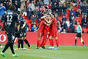 Marco Verratti (psg) scored the second goal and celebrated it with Lucas Rodrigues Moura da Silva (psg), Edinson Roberto Paulo Cavani Gomez (psg) (El Matador) (El Botija) (Florestan), Thomas Meunier (PSG), Marcos Aoas Correa dit Marquinhos (PSG) during the French championship Ligue 1 football match between Paris Saint-Germain (PSG) and Bastia on May 6, 2017 at Parc des Princes Stadium in Paris, France - Photo Stephane Allaman / ProSportsImages / DPPI