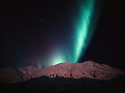 Northern lights over the Talkeetna Mountains viewed from Hatcher Pass State Recreation Area, Alaska.