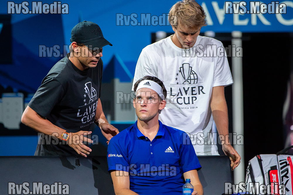 GENEVA, SWITZERLAND - SEPTEMBER 22: Rafael Nadal talks with Dominic Thiem of Team Europe during Day 3 of the Laver Cup 2019 at Palexpo on September 20, 2019 in Geneva, Switzerland. The Laver Cup will see six players from the rest of the World competing against their counterparts from Europe. Team World is captained by John McEnroe and Team Europe is captained by Bjorn Borg. The tournament runs from September 20-22. (Photo by Robert Hradil/RvS.Media)