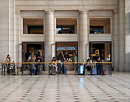 Washington, DC, USA --  March 16, 2019. Commuters grab a bite to eat at a cafe in the main lobby of Union Station in Washington, DC.