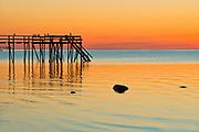 Pier (dock) on Lake Winnipeg at sunrise<br />MAtlock<br />Manitoba<br />Canada