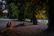 Sitting alongside a grove of horse chestnut trees, a couple enjoy the last warm glow of summer sunlight in Ruskin Park, a public green space in the south London borough of Lambeth, on 6th August