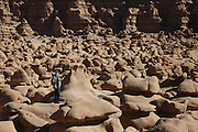 SHOT 10/19/16 2:34:09 PM - Emery County Utah tourism photos including hiking and exploring Goblin Valley including an arch rappel, the Black Dragon Canyon and  mountain biking Saucer Basin with Lamar Guymon. (Photo by Marc Piscotty / © 2016)