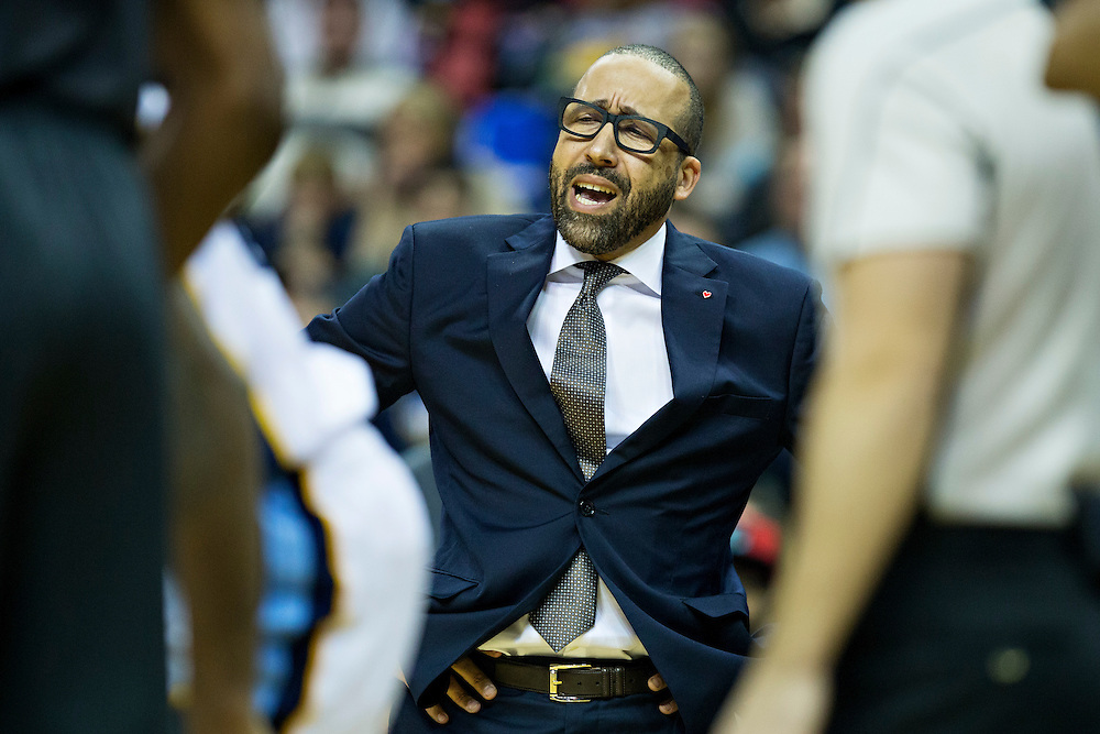 MEMPHIS, TN - DECEMBER 10:  Head Coach David Fizdale of the Memphis Grizzlies yells at the officials during a game against the Golden State Warriors at the FedExForum on December 10, 2016 in Memphis, Tennessee.  NOTE TO USER: User expressly acknowledges and agrees that, by downloading and or using this photograph, User is consenting to the terms and conditions of the Getty Images License Agreement.  (Photo by Wesley Hitt/Getty Images) *** Local Caption *** David Fizdale