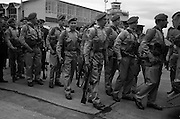 09/04/1964<br /> 04/09/1964<br /> 09 April 1964<br /> Irish U.N. advance party leave for Cyprus. An advance party of 60 Irish troops of the 40th Battalion leaving Dublin Airport by U.S. Airforce plane for Nicosia Airport, the rest of the unit would fly out two weeks later. Picture shows some of the troops about to board the plane.