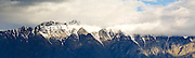 Panoramic view of The Remarkables Mountain Range, taken from south of Queenstown, Otago, New Zealand