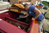 Kevin Buttermore of Hi Gloss Boat Restoration shows fabricated work being done on this 1949 Century at his shop in Gilford, NH.   ©2018 Karen Bobotas Photographer