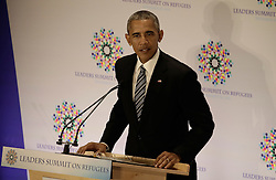September 20, 2016 - New York, New York, United States of America - United States President Barack Obama (R) speaks at a Leaders Summit for Refugees during the United Nations 71st session of the General Debate at the United Nations General Assembly at United Nations headquarters in New York, New York, USA, 20 September 2016..Credit: Peter Foley / Pool via CNP (Credit Image: © Peter Foley/CNP via ZUMA Wire)