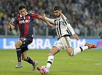 Alvaro Morata Juventus, Alex Ferrari Bologna,<br /> Torino 04-10-2015, Juventus Stadium, Football Calcio 2015/2016 Serie A, Juventus - Bologna, Foto Filippo Alfero/Insidefoto
