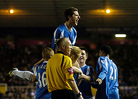 Photo: Glyn Thomas.<br />Birmingham City v Reading. The FA Cup. 07/02/2006.<br />Birmingham's Alex Bruce (top) celebrates Mikael Forssell's opening goal.