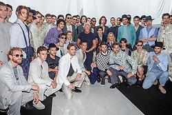 Milan fashion man spring summer 2019. Giorgio Armani Fashion Show in the picture: Giorgio Armani with the models