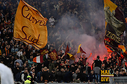 October 25, 2017 - Rome, Italy - A.S. Roma supporters during the Italian Serie A football match between A.S. Roma and F.C. Crotone at the Olympic Stadium in Rome, on october 25, 2017. (Credit Image: © Silvia Lore/NurPhoto via ZUMA Press)