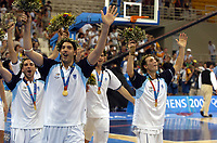 29/08/04 - ATHENS  - GREECE -  - BASKETBALL SEMIFINAL MATCH   - Indoor Olympic Stadium - <br />ARGENTINA win over ITALY and win the GOLD MEDAL<br />Argentine celebration after win the match.<br />Here in front LUIS SCOLA and in the right EMANUEL GINOBILI  during the OLympic round celebration.- <br />© Gabriel Piko / Argenpress.com / Piko-Press