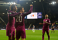 Leroy Sane of Manchester City (l) celebrates with Benardo Silver of Manchester City and Raheem Sterling of Manchester City ® after he scores his teams 2nd goal  to make it 1-2. .<br /> Carabao Cup 3rd round match, West Bromwich Albion v Manchester City at the Hawthorns stadium in West Bromwich, Midlands on Wednesday 20th September 2017. pic by Bradley Collyer, Andrew Orchard sports photography.
