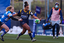 Jade Shekells of Worcester Warriors Women is tackled by Rosie Blount of DMP Durham Sharks - Mandatory by-line: Nick Browning/JMP - 09/01/2021 - RUGBY - Sixways Stadium - Worcester, England - Worcester Warriors Women v DMP Durham Sharks - Allianz Premier 15s
