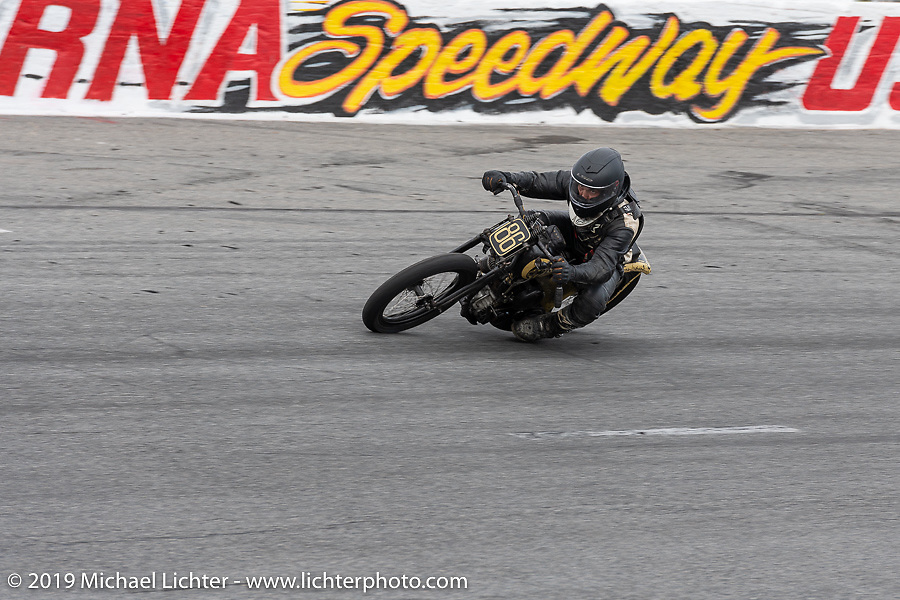 Hobo Billy Applegate on Cyclemos number 22 Model J 61 ci 1924 Harley-Davidson at the Sons of Speed Vintage Motorcycle Races at New Smyrina Speedway. New Smyrna Beach, USA. Saturday, March 9, 2019. Photography ©2019 Michael Lichter.