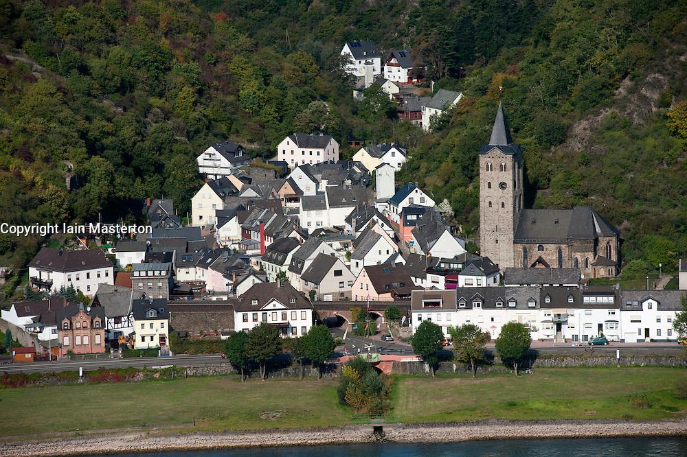 Wellmich village on  River Rhine in Rhineland Germany