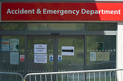 © Licensed to London News Pictures; 27/05/2020; Weston-super-Mare, UK. Views of the accident and emergency department at Weston General Hospital which has been closed to all new admissions including to A&E following an increase in cases of Covid-29 coronavirus being treated at the hospital. It's also reported that 40% of the hospital's staff have tested positive for coronavirus but many have no symptoms. Today mobile coronavirus test centre staffed by the army has opened in the town, to test for coronavirus during the Covid-19 pandemic. Photo credit: Simon Chapman/LNP.