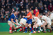 Twickenham, United Kingdom. 7th February, Louis PICAMOLE, looking for support, England vs France, 2019 Guinness Six Nations Rugby Match   played at  the  RFU Stadium, Twickenham, England, <br /> © PeterSPURRIER: Intersport Images