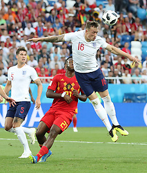 KALININGRAD, June 28, 2018  Phil Jones (top) of England competes for a header during the 2018 FIFA World Cup Group G match between England and Belgium in Kaliningrad, Russia, June 28, 2018. (Credit Image: © Cao Can/Xinhua via ZUMA Wire)