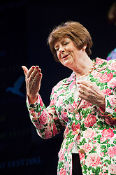 © London News Pictures. 28/05/2015. Hay-on-Wye, Powys, Wales, UK. Pam Ayres - An Afternoon With Ayres - at the Hay Festival 2015. Photo credit : Graham M. Lawrence/LNP.