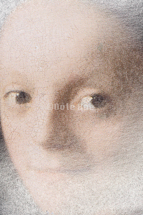face close up of Vermeer Study of a Young Woman from a print