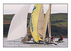 The 2004 Skiff Nationals at Largs held by the SSI.<br /> <br /> Tyrell Wines helmed by Mike Wilkie<br /> <br /> Marc Turner / PFM Pictures