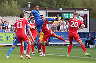 AFC Wimbledon striker Kweshi Appiah (9) with a shot on goal during the EFL Sky Bet League 1 match between AFC Wimbledon and Scunthorpe United at the Cherry Red Records Stadium, Kingston, England on 15 September 2018.