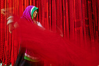 Inde, Rajasthan, Usine de Sari, Devi, 55 ans. Les tissus sechent en plein air. Ramassage des tissus secs par des femmes et des enfants avant le repassage. Les tissus pendent sur des barres de bambou. Les rouleaux de tissus mesurent environ 800 m de long. . // India, Rajasthan, Sari Factory, Devi, 55 old. Textile are dried in the open air. Collecting of dry textile  are folded by women and children. The textiles are hung to dry on bamboo rods. The long bands of textiles are about 800 metre in length.