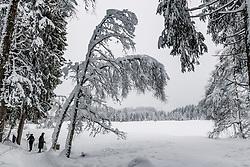 THEMENBILD - Zwei Personen bei einer Winterwanderung rund um den Schwarzsee, aufgenommen am 10. Jänner 2019, Kitzbuehel, Oesterreich // Two people on a winter hike around the Schwarzsee at Kitzbuehel, Austria on 2019/01/10. EXPA Pictures © 2019, PhotoCredit: EXPA/ Stefan Adelsberger