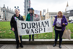 London, UK. 5 November, 2019. Campaigners from WASPI (Women Against State Pension Inequality) protest in Parliament Square to call for fair transitional pension arrangements for women born in the 1950s affected by the changes to the State Pension Age (SPA), including a 'bridging' pension to provide an income from age 60 until State Pension Age and recompense for losses incurred by women who have already reached their SPA.