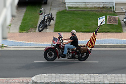 Master of Ceremonies Joe Oz on his 1945 Indian Chief (one time NYC police bike!) on setup day for TROG (The Race Of Gentlemen) in Wildwood, NJ. USA. Friday June 8, 2018. Photography ©2018 Michael Lichter.
