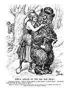 """Who's Afraid of the Big Bad Bear? Madame La France. """" It's a good bear - a nice bear - a kind bear! We must give it one of our Geneva buns!"""" (Signs are noticed fo a rapprochement between France and the U.S.S.R., and it is suggested that Russia will apply for admission to the League of Nations.)"""