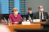 DEU, Deutschland, Germany, Berlin, 03.03.2021: Bundeskanzlerin Dr. Angela Merkel (CDU) und Kanzleramtsminister Helge Braun (CDU) vor Beginn der 132. Kabinettsitzung im Bundeskanzleramt.