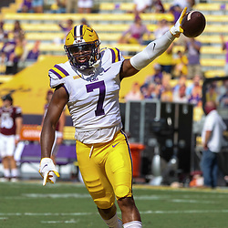 Sep 26, 2020; Baton Rouge, Louisiana, USA; LSU Tigers safety JaCoby Stevens (7) celebrates after recovering a fumbled snap against the Mississippi State Bulldogs during the first half at Tiger Stadium. Mandatory Credit: Derick E. Hingle-USA TODAY Sports