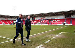 Lee Brown and Ollie Clarke of Bristol Rovers arrives at The Keepmoat Stadium for his side's fixture against Doncaster Rovers - Mandatory by-line: Robbie Stephenson/JMP - 27/01/2018 - FOOTBALL - The Keepmoat Stadium - Doncaster, England - Doncaster Rovers v Bristol Rovers - Sky Bet League One