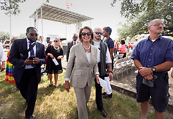 29 August 2015. Lower 9th Ward, New Orleans, Louisiana.<br /> Hurricane Katrina 10th anniversary memorials.  <br /> Congresswoman Nancy Pelosi at the event to remember the survivors and victims of the storm.<br /> Photo credit©; Charlie Varley/varleypix.com.