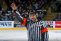KELOWNA, CANADA - JANUARY 7:  Referee, Chris Crich, stand on the ice at the Kelowna Rockets against the Kamloops Blazers on January 7, 2017 at Prospera Place in Kelowna, British Columbia, Canada.  (Photo by Marissa Baecker/Shoot the Breeze)  *** Local Caption ***